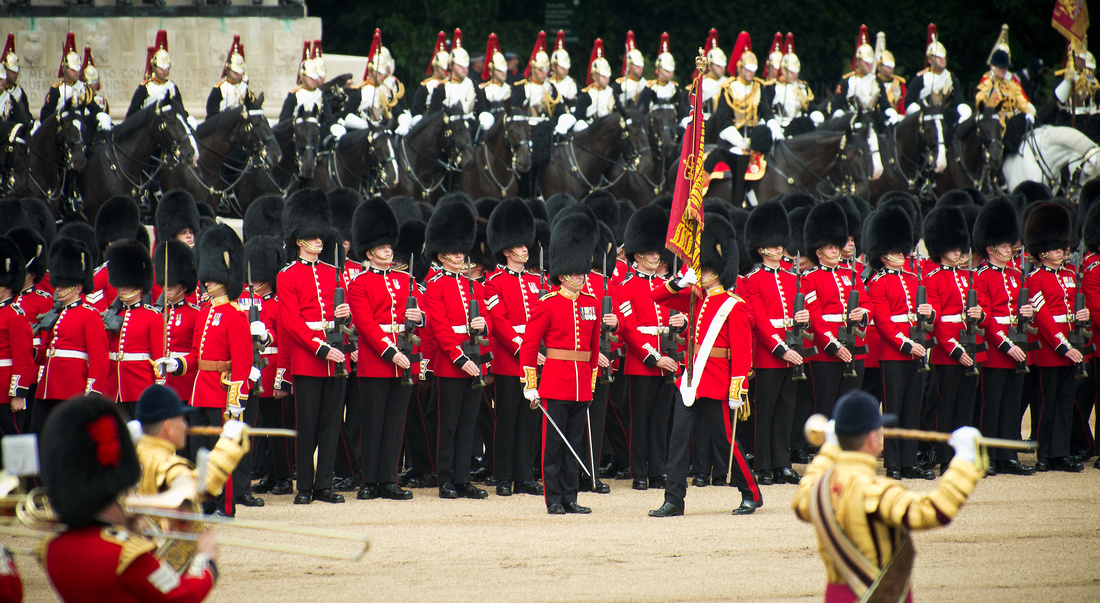 The Colours being trooped by the Grenadier Guards
