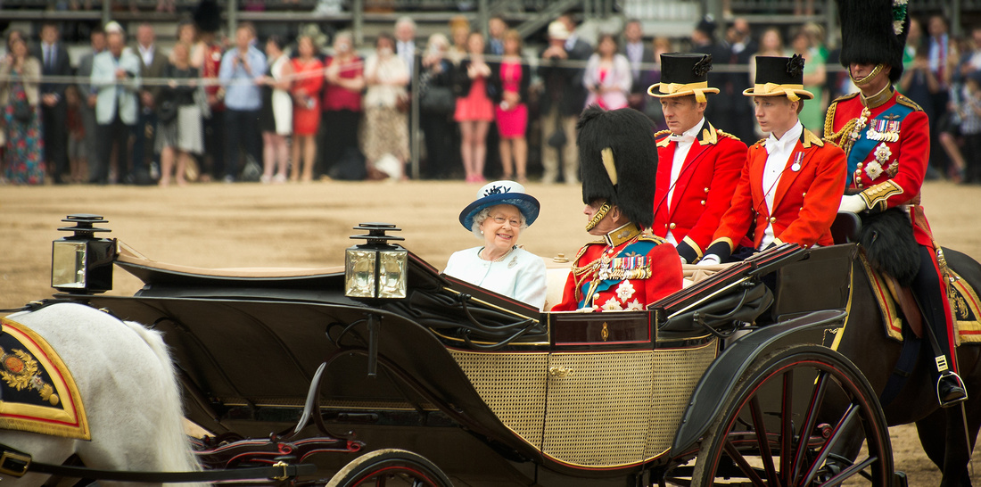 Her Majesty the Queen and the Duke of Edinburgh Leave Horseguards parade after the Trooping the Colour