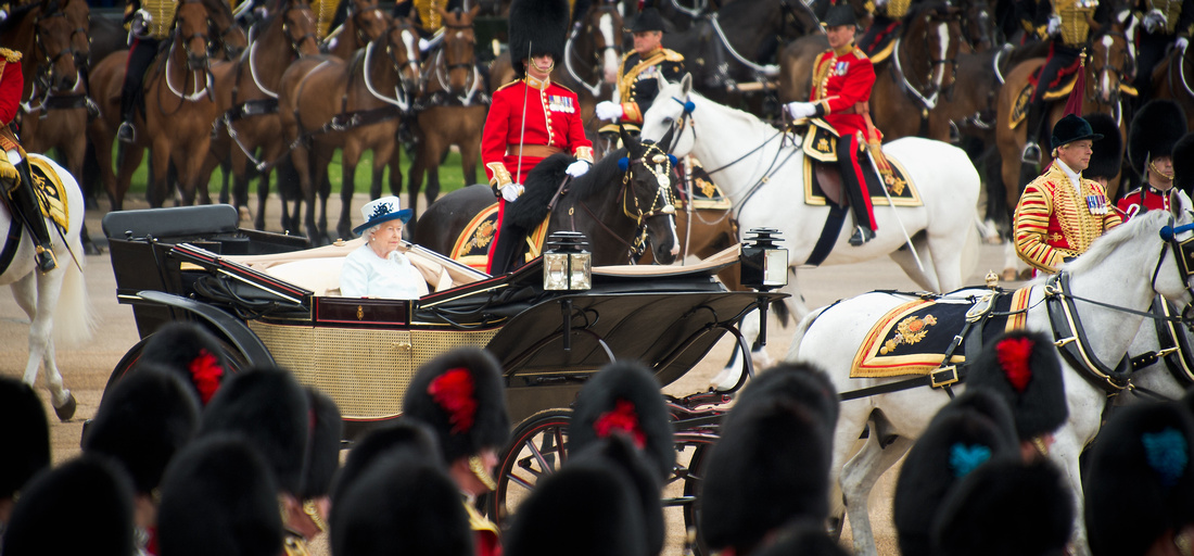 Her Majesty the Queen inspects her troops at the Trooping the Colour parade 2014