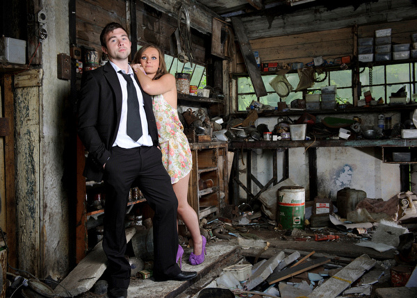 a Fashion shoot of the lead singer from The Zillaz and a young female model.