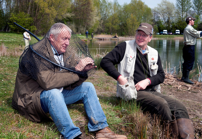 CHRIS TARRANT IN A FISHING NET HOPEFUL OF AT LEAST ONE CATCH
